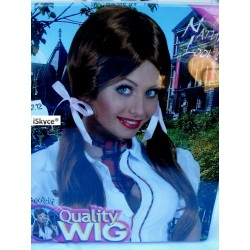Schoolgirl chestnut brown wig - larger than life! It will be a nice effect on you! Articl