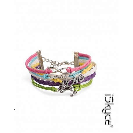 Bracelet at Brelogues leather woman Love, setting anchor with locking type lobster tin alloy. Made