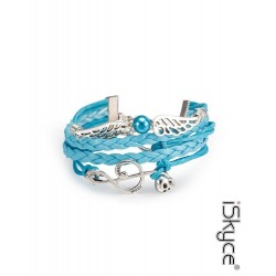 Brelogues leather woman Note of music wing of Ange skull etc bracelet with locking type lobster
