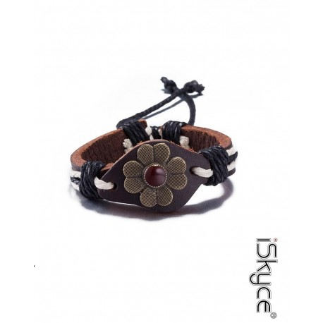 B-107. Fashion bracelet knitted leather bracelet with flower Motif and lace clasp.