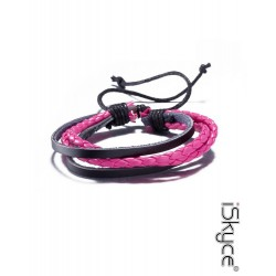 B-110. Unisex Fashion bracelet knit pink cow leather bracelet with lace clasp.
