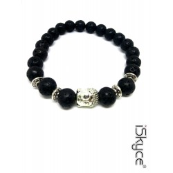 B-111. Unisex bracelet with black natural lava stone.