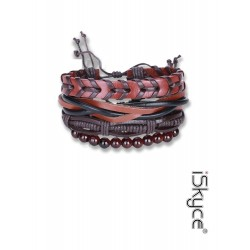 B-112. Unisex fashion bracelet knitting Leather Bracelet + Bead Necklace with lace clasp