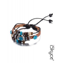 Cow leather color plate elegant unisex bracelet silver and blue alloy of zinc.